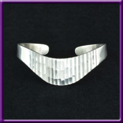 TMA 925 Cuff Bracelet Wave Corduroy Groove Design Sterling Silver Vintage Mexico