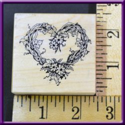 Rubber Stamp PSX 1992 F-057 Floral Heart Wreath Wood Mounted