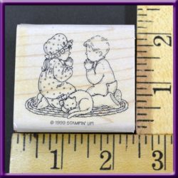 Rubber Stamp Children Praying with Cat Stampin' Up! Wood Mounted