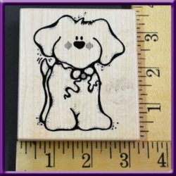Dog Rubber Stamp JRL Design Q 146 Wags Wood Mounted, Used