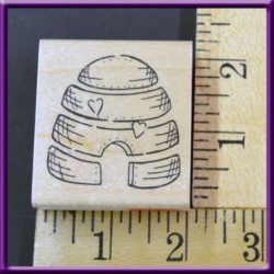 Rubber Stamp Bee Hive with Hearts JRL Wood Mounted
