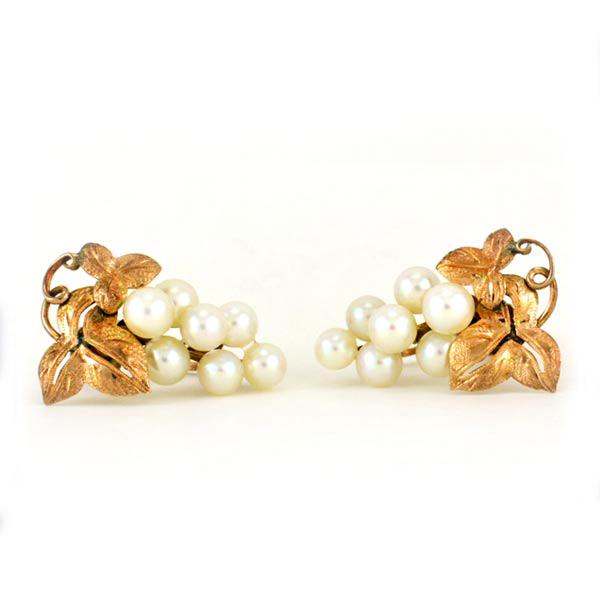 b78c62dac Pearl 10k gold earrings grape cluster screw back vintage estate used.