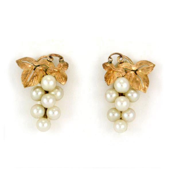 Pearl 10k Gold Earrings G Cer Back Vintage