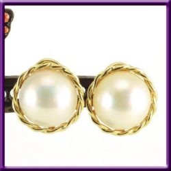 12mm White Mabe Pearl & 14K Earrings Non Pierced Omega Clip On Earrings Vintage