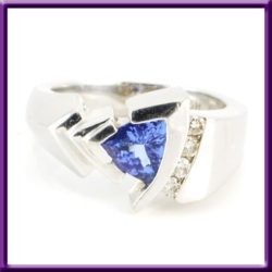 Estate 14k white gold ring Tourmaline trillion cut ASH brand