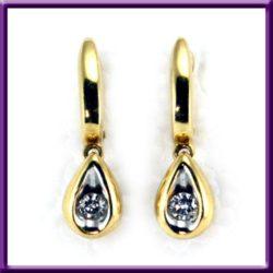 Gold 14K Diamond Drop Earrings Pierced