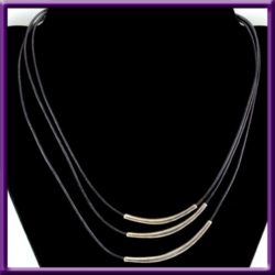 Silpada Necklace N1571 925 Cascading 3 Strand Black Leather Cords & Sterling Bars