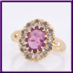 10K Purple Amethyst & CZ Ring Yellow Gold Used