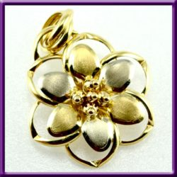 Flower 14k pendant white and yellow gold, used
