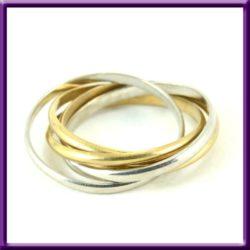 Interlocked 5 Band Ring 18k gold and 900 platinum