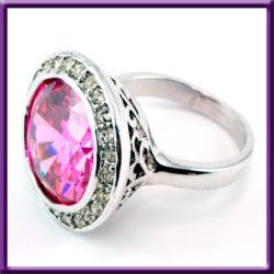 Large Pink Cubic Zirconia Ring Clear Stones Silver Tone