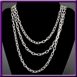 Sterling Cable Chain Necklace 50 inches 5.6 mm links, Used