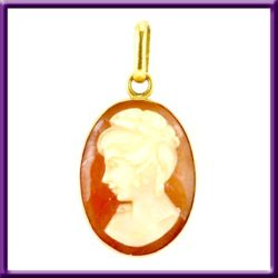 Vintage 18k Coral Cameo Pendant Double Sided