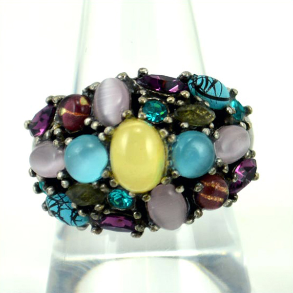 Multi color stones fashion ring silver tone adjustable, used