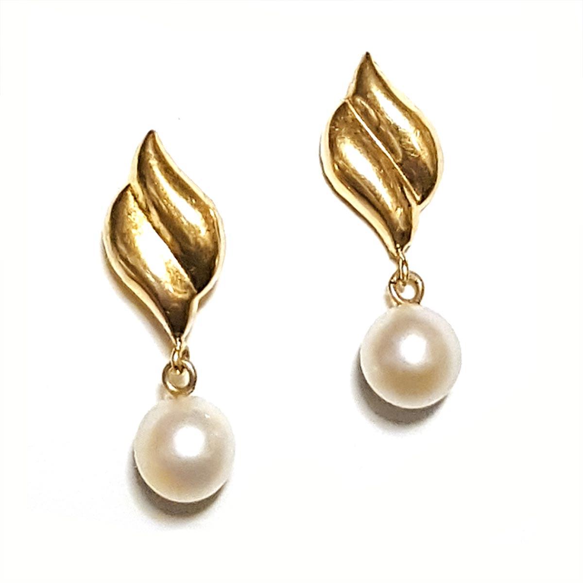 14k Pearl Drop Earrings Solid Yellow Gold Flourish Cultured